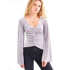 Urban Outfitters Silver Ruched Velvet Blouse